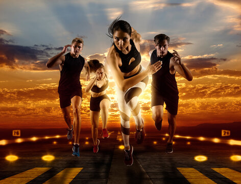 Man and woman on runway background. Sports banner