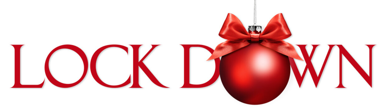 lock down text with christmas red ball with satin ribbon bow isolated on white background