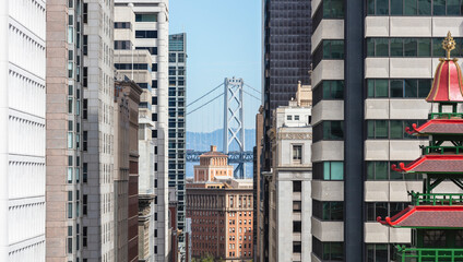 Architecture of building with Golden Gate bridge in background at San Francisco, California, USA Fotomurales