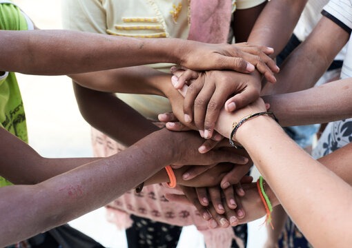 Group of multiethnic people, hands, together