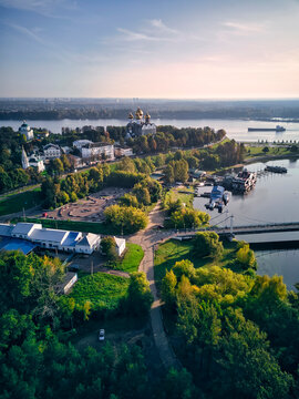 Aerial view of park at Strelka with Assumption Cathedral by Volga and Kotorosl river crossing, Yaroslavl, Russia