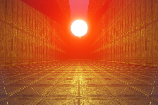 3D rendered Ilustration sunset on alien Planet illuminating strange architecture