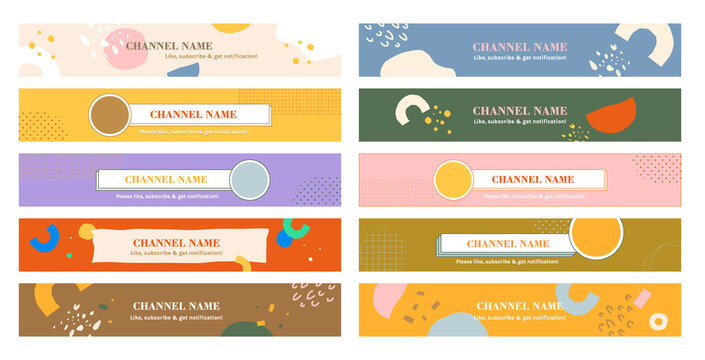 Youtube channel banner template set of ten in pastel colors. girly lifestyle, social media design elements. background, baby pink, blue, purple, orange, yellow, green, gold and beige.