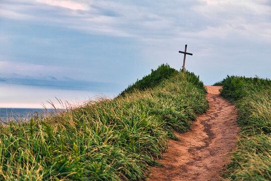 Walkway towards christian cross at Vladivostok, Russia