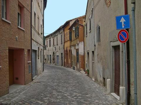 Italy, Marche, Mondolfo downtown medieval street.
