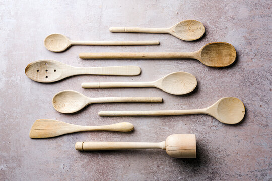 Collection of wooden spoons