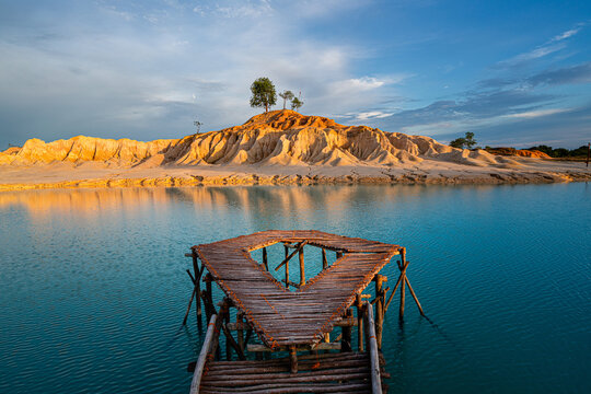 Blue Lake and sand dunes in Bintan Island, Indonesia