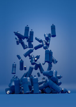 Plastic bottles and blue cans on blue background.