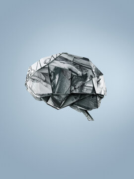 Origami brain made of family photographies