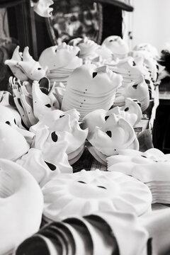 Preparations of Venetian masks.