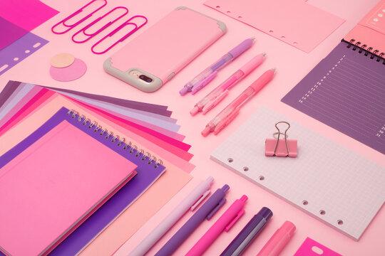 Pink stationary