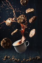 Creative studio shot of chocolate splash with cookies