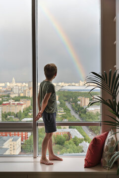 A young boy admires the view from a large window