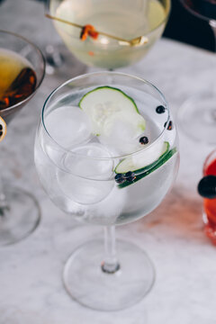 Elegant Gin Tonic on marble table