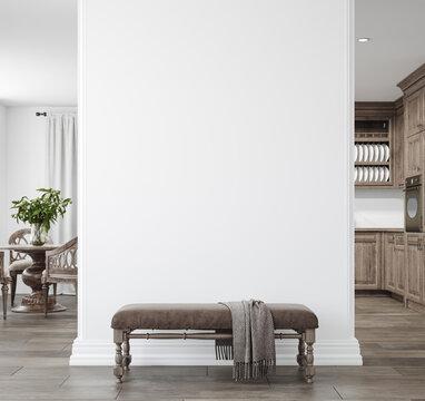 Light farmhouse living room interior with dark wooden furniture, wall mockup, 3d render