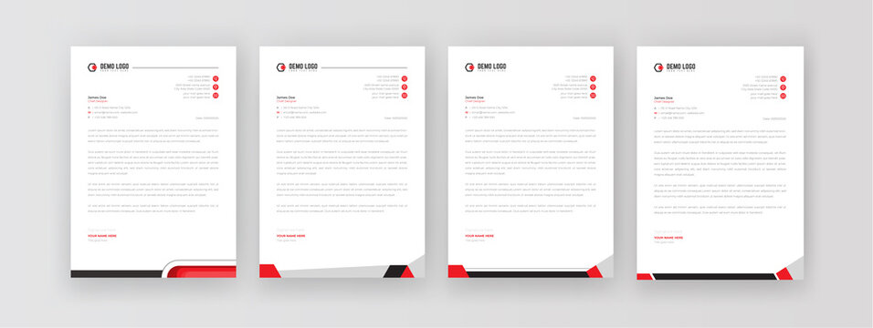 Creative & Clean business style letterhead template Set or bundle of your corporate business project design. Set to print with vector & illustration. corporate letterhead bundle design