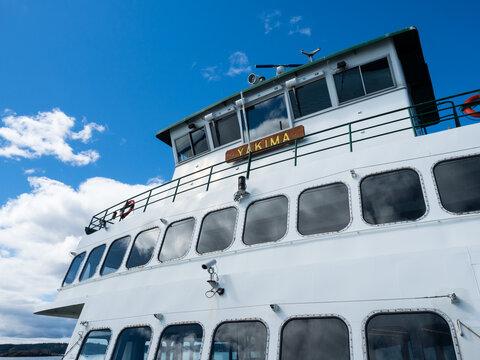 Anacortes, WA, USA - April 12, 2019: Washington state ferry MV Yakima on the way from Anacortes to Friday Harbor