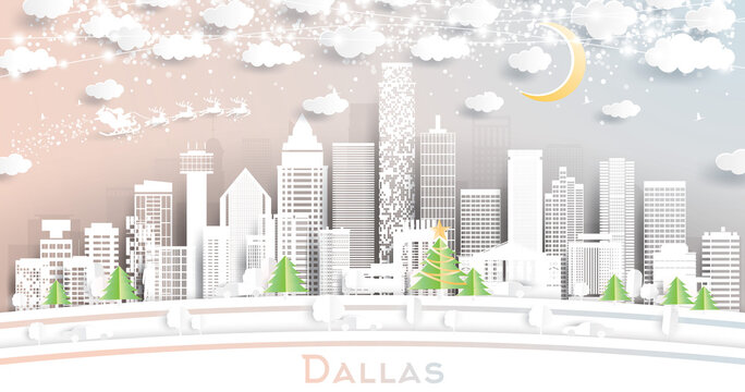 Dallas Texas City Skyline in Paper Cut Style with Snowflakes, Moon and Neon Garland.