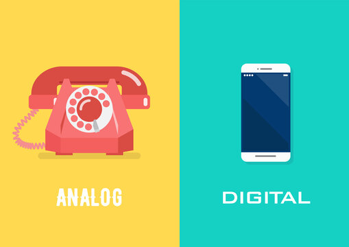 Retro telephone in analog age and smartphone in digital age