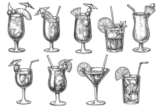 Cocktail bar menu with long drink in glass hand drawn sketch. Popular alcoholic and non-alcoholic iced beverage in glassware with decoration doodle vector illustration isolated on white background