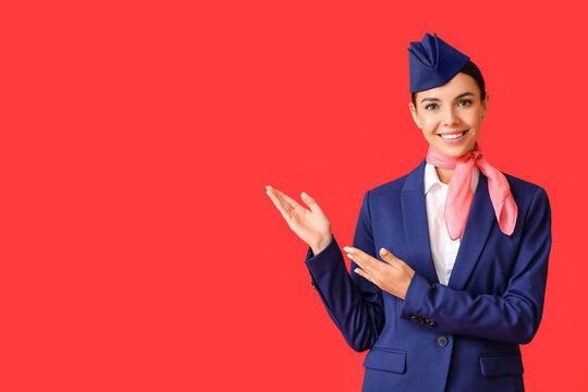 Beautiful stewardess showing something on color background