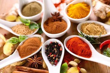 Fototapeta allspices- set of spices and ingredients obraz