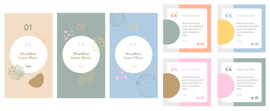 social media instagram influencer account quote story post template set of four. background graphic design elements. backdrop. motivation inspiration. trendy pattern with flowers and geometric shapes