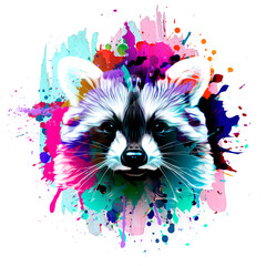 raccoon with creative colorful abstract element on background