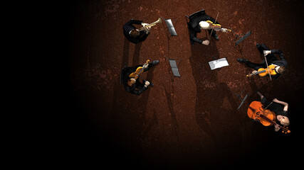 Group of musicians in orchestra playing together on stage top view 3d rendering