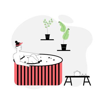 Woman in wooden bathtub, drinking tea, relaxing in spa salon