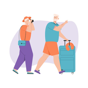 Grandfather and grandmother traveling together