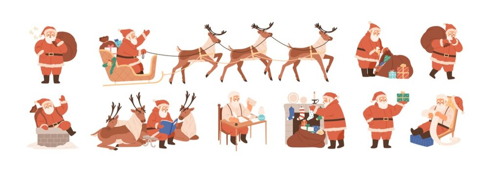 Set of merry Santa Claus characters riding reindeer sleigh, carrying Christmas bag, putting gifts into stockings, coming down the chimney, reading letters. Flat vector illustration isolated on white