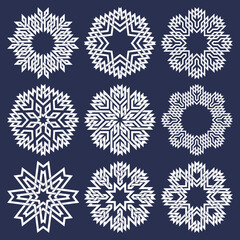 Set of eight pointed circular patterns in Oriental intersecting lines style. Nine white mandalas in snowflakes form on blue background.