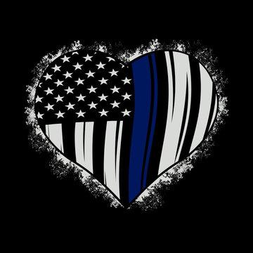 Illustration American Hearth Flag, Police Officer, Thin Blue Line, Love US police flag, blue line american flag