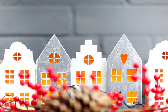 Paper house garland for Christmas holiday