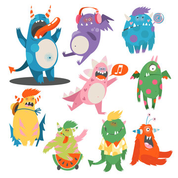 Comic Monsters with Horns and Wings Listening to Music and Having Fun Vector Set