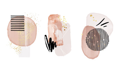 Abstract painting, pink art, modern pastel watercolor paint, watercolour pattern elements background. Vector brush stroke poster set, stain design with gold isolated on white
