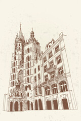 Wall Mural - vector sketch of St. Mary's Church, Krakow, Poland.