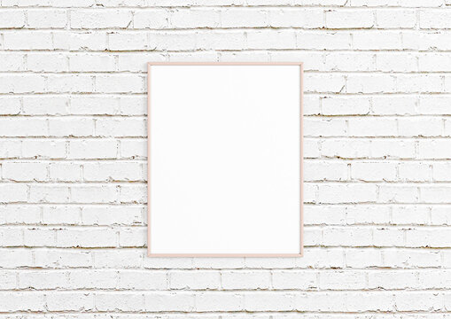 Vertical 8x10 Pink Frame mockup. Vertical Pink frame on a white floor and white bricks wall.