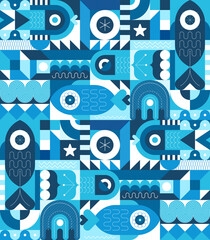 Sea life vector illustration. Blue shades geometric style flat design with fish, jellyfish and abstract shapes.