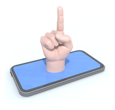 finger index on the smartphone display