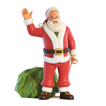 Santa Claus waving with one hand and holding the sack in the other isolated on white background 3d rendering