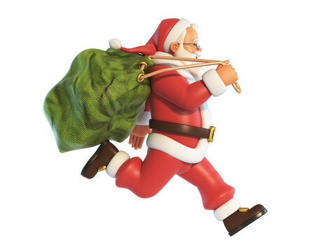 Santa Claus running with sack full of presents isolated on white background 3d rendering