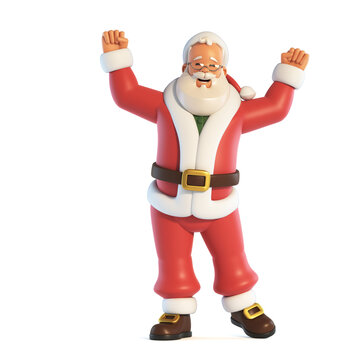 Santa Claus cheering with both hands isolated on white background 3d rendering