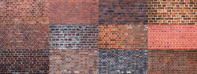 textures of old dark grunge red brick wall background