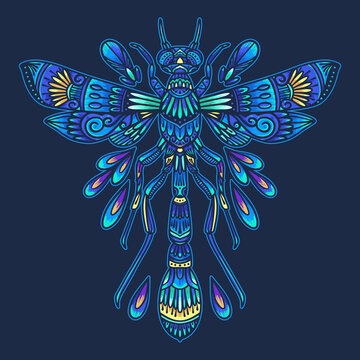 Colorful insect dragonfly mandala vector illustration