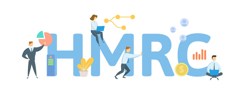 HMRC, Her Majesty's Revenue and Customs. Concept with keywords, people and icons. Flat vector illustration. Isolated on white background.