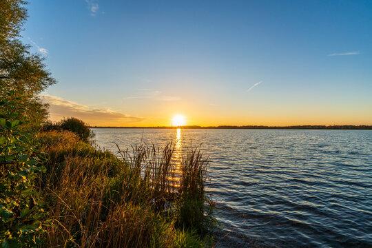 Romantic sunset at a lake