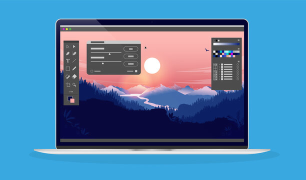 Photo editing on laptop computer - Photo editor software with user interface and beautiful landscape image.