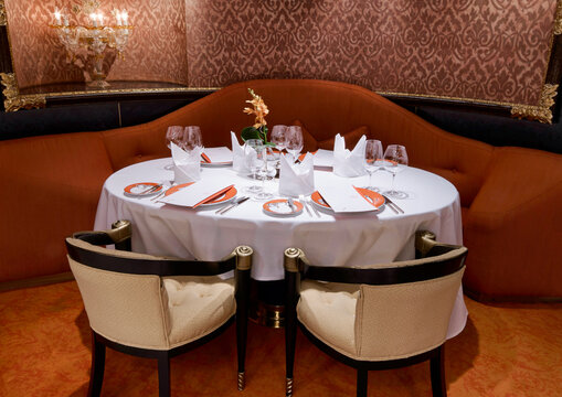 Luxury Classic restaurant with beautiful table setting